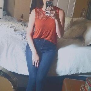 H&M Burnt Orange Short Sleeve Blouse